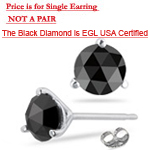 1.51 Cts EGL USA Certified AAA Round Rose Cut Black Diamond Mens Stud Earring in 14K White Gold