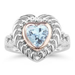 1.00 Ct of 7 mm AA Heart Aquamarine Ring in Silver and Pink Gold