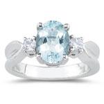 0.20 Cts Diamond & 1.70 Cts Aquamarine Three Stone Ring in 18K White Gold