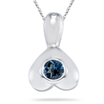 0.27 Cts of 4 mm AA Round London Blue Topaz Pendant in Silver