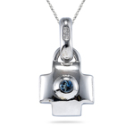 0.15 Cts London Blue Topaz Pendant in Silver
