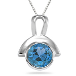 0.89 Cts of 6 mm AA Round Swiss Blue Topaz Pendant in Silver