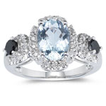 0.47 Ct Black & White Diamond & 2.03 Ct Sky Blue Topaz Ring- 14KW Gold