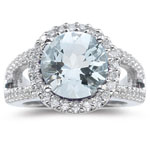 0.52 Ct Diamond  & 4.01 Cts Sky Blue Topaz Ring in 14K White Gold