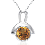 0.93 Cts Citrine Solitaire Pendant in Silver