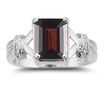 0.01 Cts Diamond & 2.50 Cts Garnet Ring in 14K White Gold