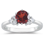 0.18 Cts Diamond & 1.25 Cts Garnet Ring in 18K White Gold