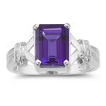 0.01 Cts Diamond & 2.25 Cts Amethyst Ring in 14K White Gold