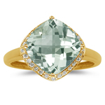 0.14 Cts Diamond & 2.99 Cts Green Amethyst Ring in 14K Yellow Gold