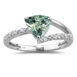 0.06 Cts Diamond &1.06 Cts Green Amethyst Ring in 14K White Gold