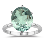 3.33 Ct 12x10 mm AA Oval Green Amethyst Solitaire Ring -14K White Gold
