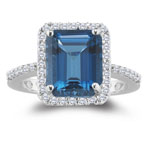 0.26 Cts Diamond & 3.24 Cts London Blue Topaz Ring in 14K White Gold