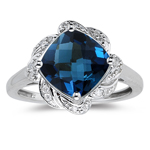 0.09 Cts Diamond & 3.02 Cts London Blue Topaz Ring in 14K White Gold