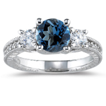 0.55 Cts Diamond & 1.42 Cts London Blue Topaz Ring in 14K White Gold