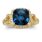 0.50 Cts Diamond & 4.01 Cts London Blue Topaz Ring in 14K Yellow Gold