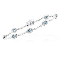 1.29 Cts Diamond & 1.60 Cts Aquamarine Bracelet in 14K White Gold