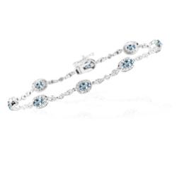 1.29 Cts Diamond & 1.60 Cts Aquamarine Bracelet in 14K White Gold - Christmas Sale