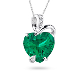 Diamond and Russian Lab Created Emerald Pendant