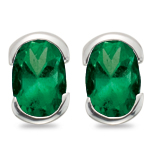 1.20-1.62 Cts 7x5 mm AA Oval Natural Emerald Stud Earrings in 14K White Gold
