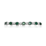 0.32 Cts Diamond & 10.70 Cts of 7x5 mm AA Oval Natural Emerald Eternity Bracelet in 14K White Gold