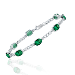 0.08 Cts Diamond & 5.85 Cts 7x5 mm AA Oval Natural Emerald Bracelet in 14K White Gold