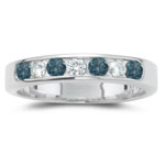0.13 Cts Diamond & 0.18 Cts Blue Diamond Ring in 14K White Gold