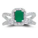 0.63 Cts Diamond & 0.68 Cts Natural Emerald  Ring in 14K White Gold