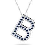Blue Sapphire Initial B Pendant