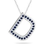 Blue Sapphire Initial D Pendant