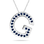 Blue Sapphire Initial G Pendant