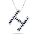 Blue Sapphire Initial H Pendant