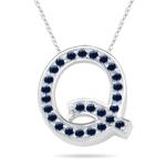 Blue Sapphire Initial Q Pendant