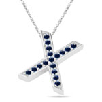 Blue Sapphire Initial X Pendant