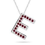 Ruby Initial E Pendant