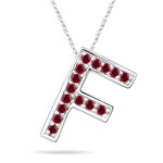 Ruby Initial F Pendant