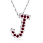 Ruby Initial J Pendant