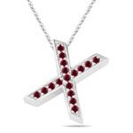 Ruby Initial X Pendant