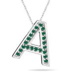Natural Emerald Initial  A Pendant