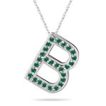 Natural Emerald Initial  B Pendant