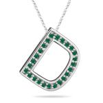 Natural Emerald Initial  D Pendant