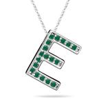 Natural Emerald Initial  E Pendant