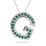 Natural Emerald Initial  G Pendant