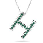 Natural Emerald Initial  H Pendant