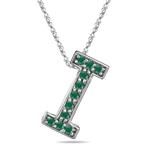Natural Emerald Initial  I Pendant