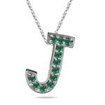 Natural Emerald Initial  J Pendant