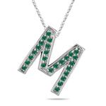 Natural Emerald Initial  M Pendant