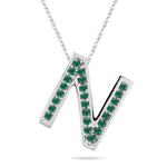 Natural Emerald Initial  N Pendant