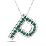 Natural Emerald Initial  P Pendant