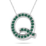 Natural Emerald Initial  Q Pendant