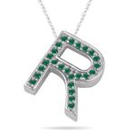Natural Emerald Initial  R Pendant